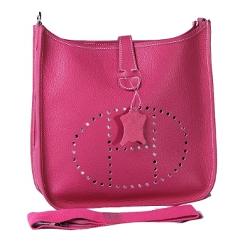 HERMES 1551 peach Cow Hide Leather bag  $198.00