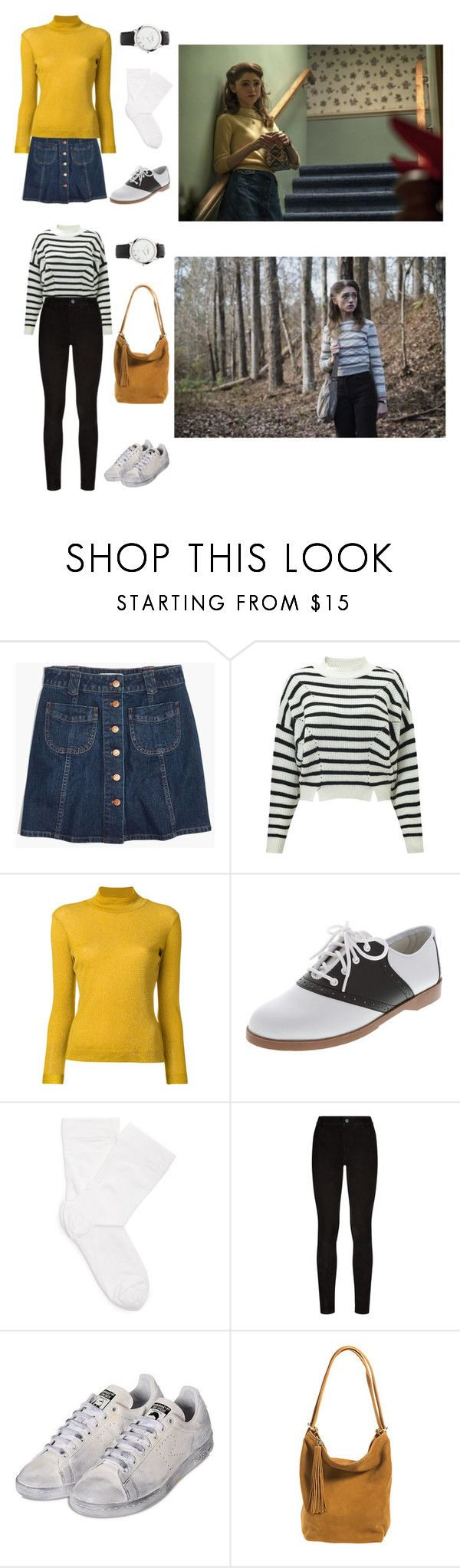 """""""Nancy wheeler - stranger things"""" by kamileigh2006 ❤ liked on Polyvore featuring Madewell, Miss Selfridge, Golden Goose, Oxford, Wolford, Paige Denim, adidas, HOBO and Links of London"""
