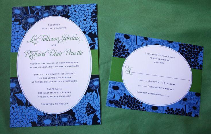 Navy, Cornflower Blue, and Green Daisy and Hydrangea Oval Frame Wedding Invitations