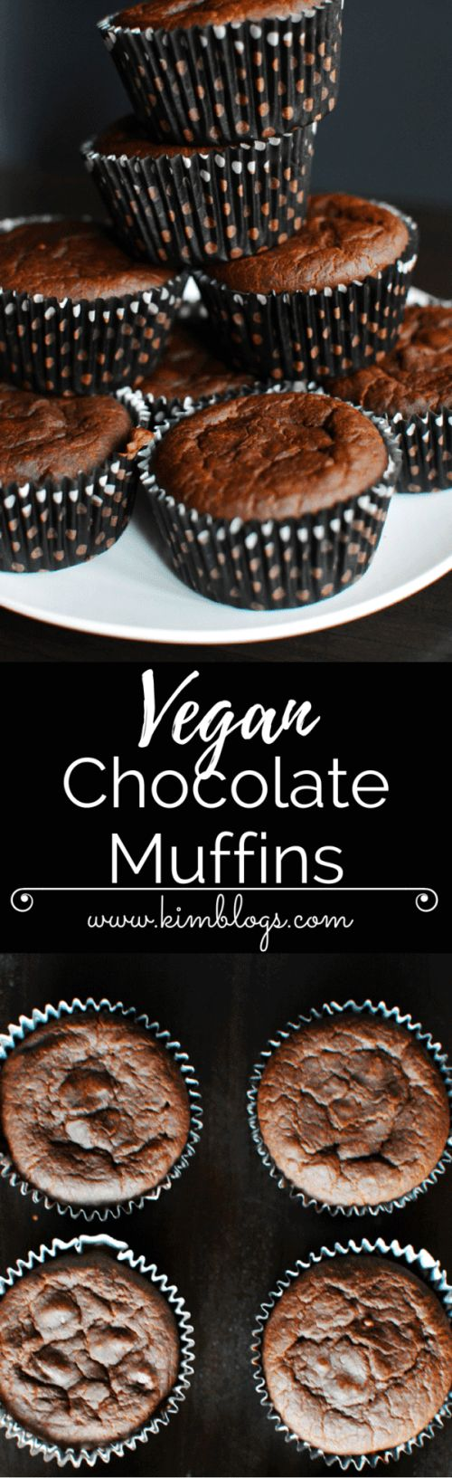 Easy to make vegan chocolate muffins using maple syrup, coconut oil and cocoa powder. Soft and very tasty. Perfect snack!