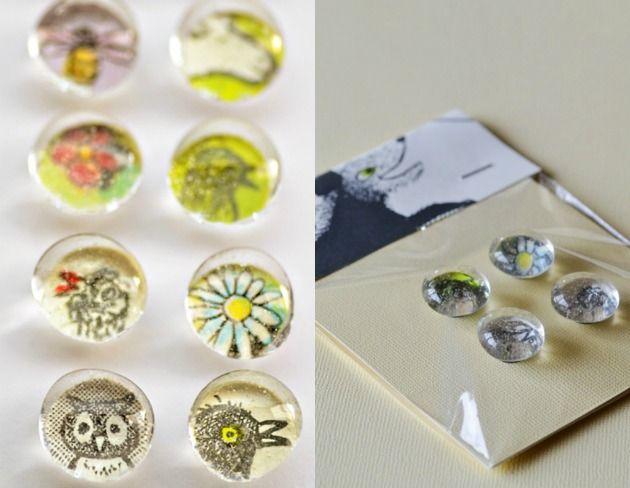 DIY glass favor magnets.