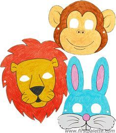 Print, color and wear these cute paper animal masks
