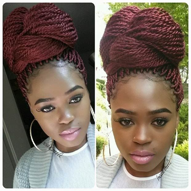 Burgundy Senegalese Twisted High Bun
