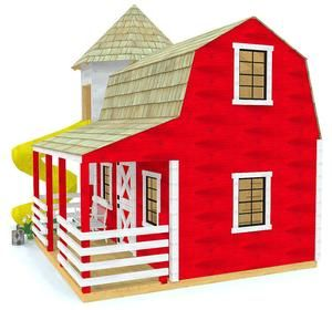 large barn playhouse plan with porch and slide play kitchen in rh pinterest com