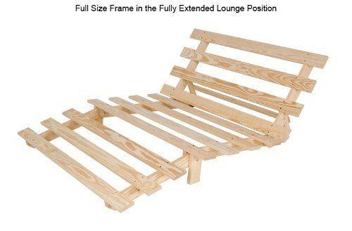 Amazon.com: Full Size Economy Futon Frame Solid Wood Chemical Free ...