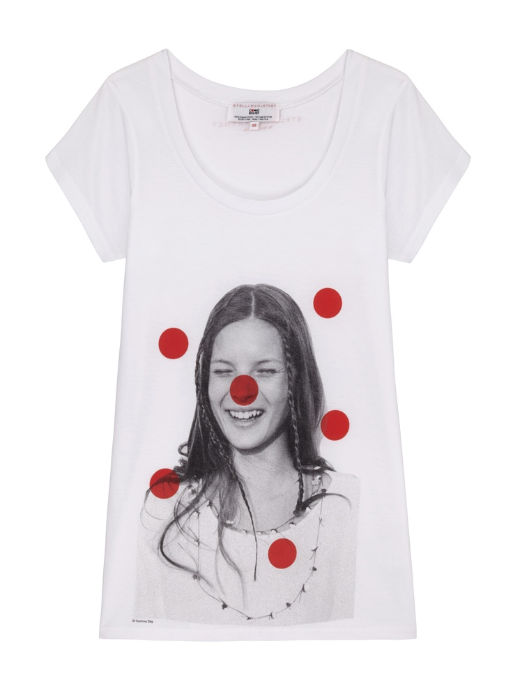 White T-shirt featuring an iconic black and white photograph of British supermodel Kate Moss, taken by British fashion photographer Corinne Day in 1991 for The Face magazine. Designed by Stella McCartney exclusively for Red Nose Day. With at least £8 going to charity, t-shirt is £14.99. 100% organic Fairtrade certified cotton. Wash at 40.