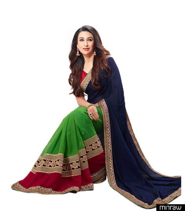 Gorgeous karishma kapoor in blue and green saree