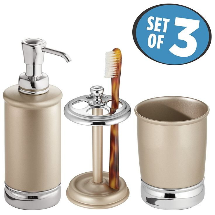 mDesign Bath Accessory Set, Soap Dispenser Pump, Toothbrush Holder, Tumbler - 3 Pieces, Pearl Champagne/Chrome