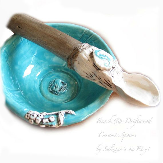 Ceramic Spoon Coastal Beach style  Aqua Seahorse Hand Sculpted with driftwood handle