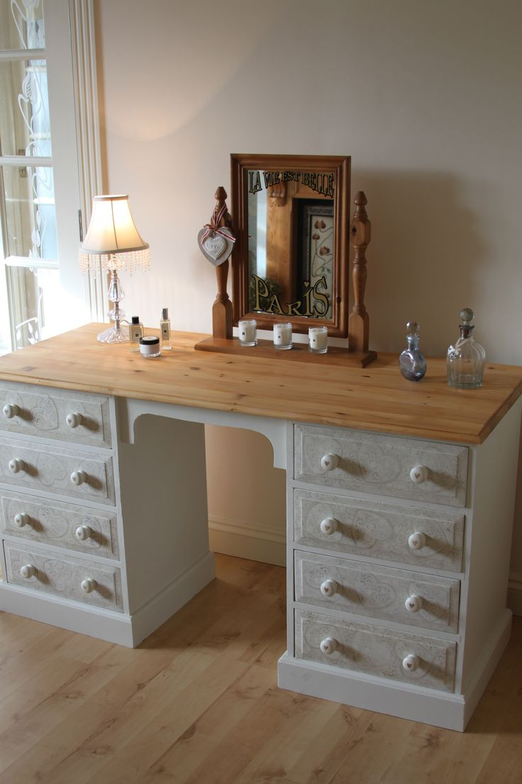 """This is a beautiful Dressing Table painted in Farrow and Ball Slipper Satin with French Typography on the mirror. The drawers have been hand painted with a decorative heart and paisley style effect. This vintage pine piece is well constructed. This is a versatile item which can also be used as a desk. The French Typography """"La Vie Est Belle"""" Paris translates to """"Life is Beautiful"""" Paris. Dimensions:- Height: 76 cm Width: 142 cm Depth: 59 cm"""