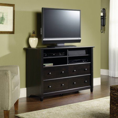 Sauder Edge Water Tall TV Stand for TVs up to 45 inch, Estate Black