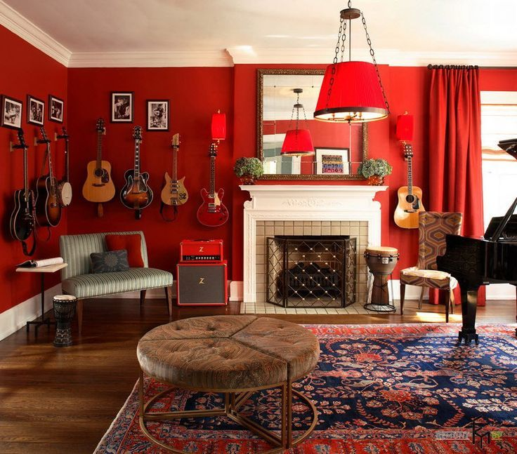 A Pretty Plain Red Curtain For Red Living Room With Many Guitars As Wall  Decors Also Large Mirror And Piano Plus Red Case Chandelier And Patterned  Chairs ...