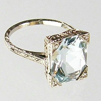 #Aquamarine Ring ca 1920's