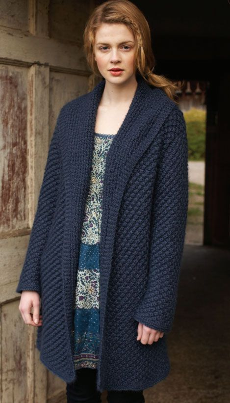 89e7fb5756cd3 Free Daisy Stitch Coat Knitting Pattern in Debbie Bliss Alpaca Silk Aran