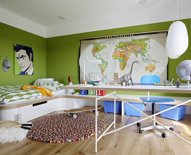 Boys Room.... LOVE the bright colour and the map. D would love the desk so he could play Legos or Army Guys :)