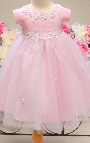Lovely Ballgown Short Sleeves Tea Length Applique Beaded Tulle Flower Girl Dress