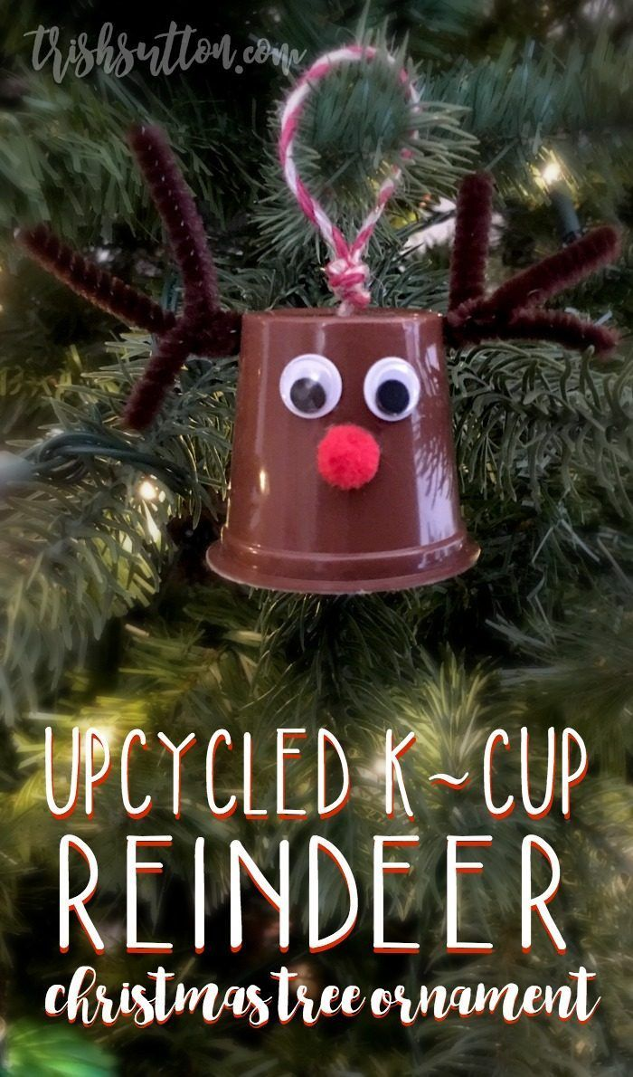 Cans, tops of cans, Mason Jar lid rings, bottle tops and now K-Cups. Upcycled K-Cup Reindeer Christmas Tree Ornament. http://trishsutton.com/upcycled-k-cup-reindeer/