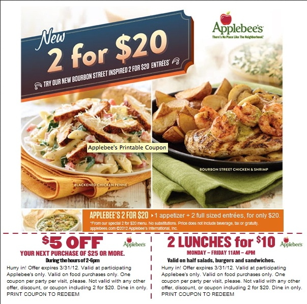 Applebees: Printable Coupon
