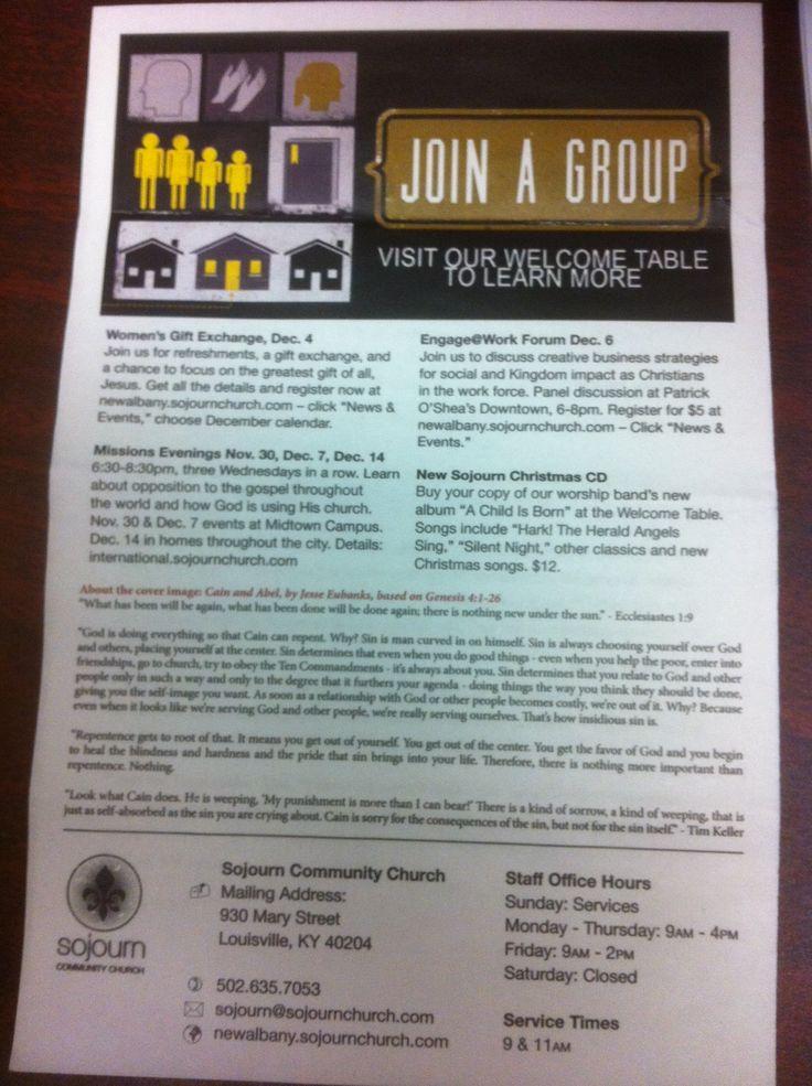 Old Sojourn Church Sunday Bulletin Design 66
