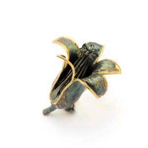 Sifis Jewellery - A real bryophyllum delagoense flower from a wide leaf cactus crafted from Oxidised Silver and Gold. A unique piece that can be worn as a brooch or placed as a decorating object.