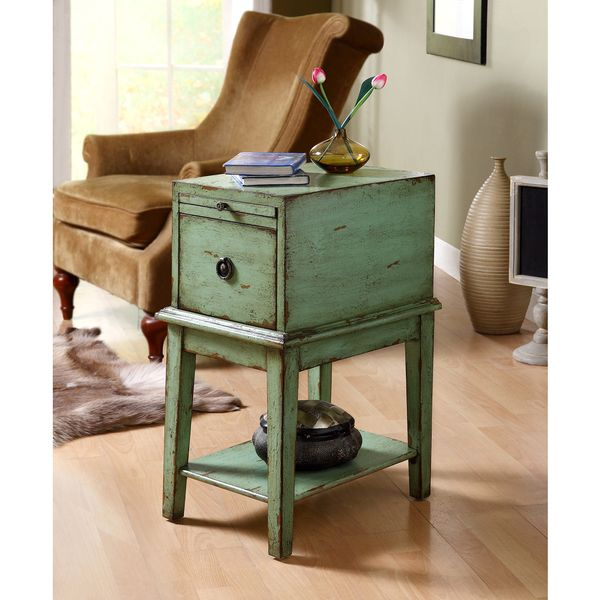 Pin By Product Bureau On Tables Coffee Side: Somette Sea Green Weathered 1-Drawer Chair Side Cabinet