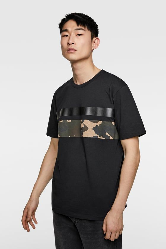 92807766cc18 T-SHIRT WITH CAMOUFLAGE STRIPES - Item available in more colors ...