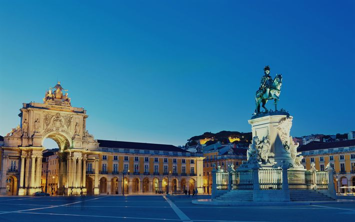 Download wallpapers Lisbon, Square of Commerce, 4k, Palace Square, Equestrian statue of Jose I, Portugal