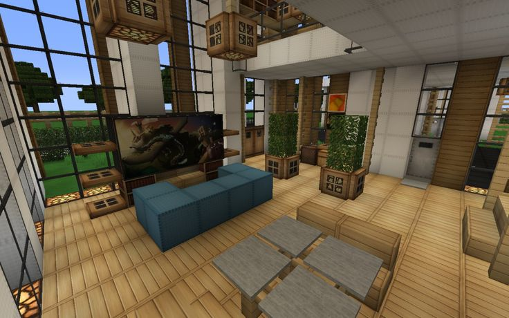 minecraft modern house kitchen - Google Search | Minecraft room, Living room in minecraft ...