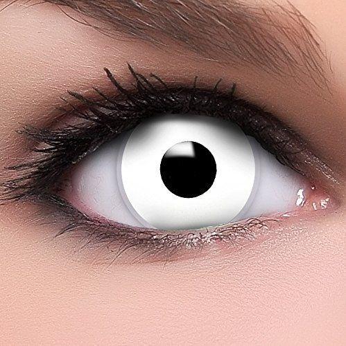 FUNZERA® Lentilles de Contact de Couleur Blanche «Blanche Zombie» + 10ml Solution + Récipient Gratuit -Sans Correction- Qualité de la…