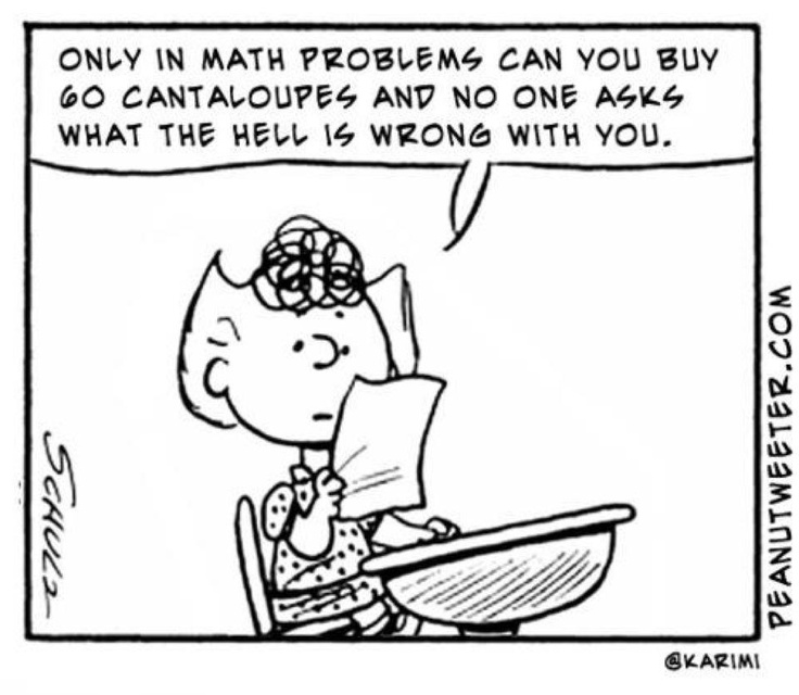 As a retired elementary teacher, I died laughing when I saw this cartoon!!  My teacher friends will appreciate this -- as will everyone who remembers those math word problems. LMAO!!
