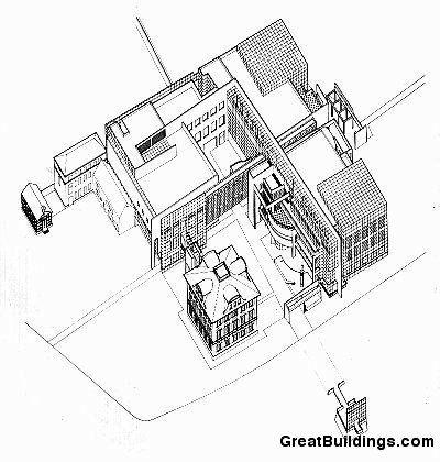 Richard Meier; Axonometric drawing of Museum für Kunsthandwerk, Frankfurt, 1981-5