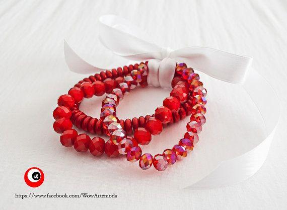 Red Threelight Bracelet with bright Swarovski and di WoWArteModa, €19.90