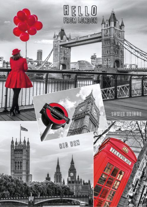 Puzzle DINO 1000 dílků - Londýn, Anglie - koláž