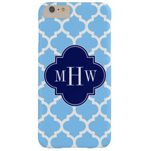 Sky Blue Wht Moroccan #5 Navy Blu 5c Name Monogram Barely There iPhone 6 Plus Case