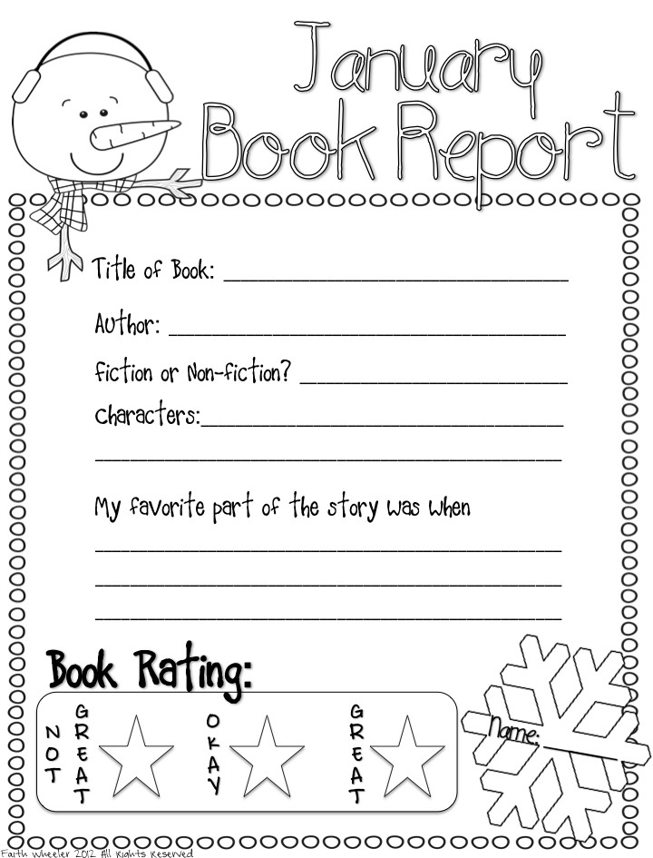 Printable Book Report Forms  Elementary   Book and Book reports