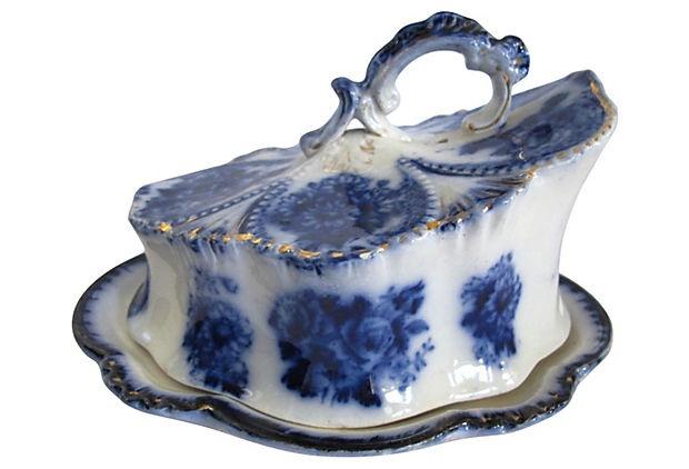 Antique Flow Blue Covered Cheese Dish on OneKingsLane.com