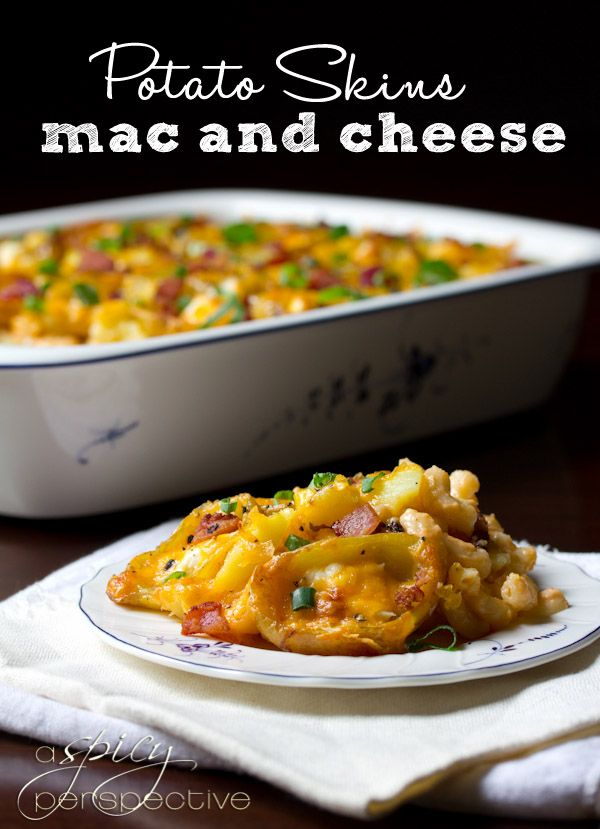 Potato Skins Mac and Cheese Recipe | ASpicyPerspective.com: Baking Potatoes Mac And Chee, Mac And Chee Recipes, Aspicyperspect Com, Potatoes Skin Mac And Chee, Food, Potato Skins, Aspicyperspective Com, Mac And Cheese, Cheese Recipes