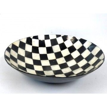 Bowl 35d  Pearl Shell and Black Resin Check