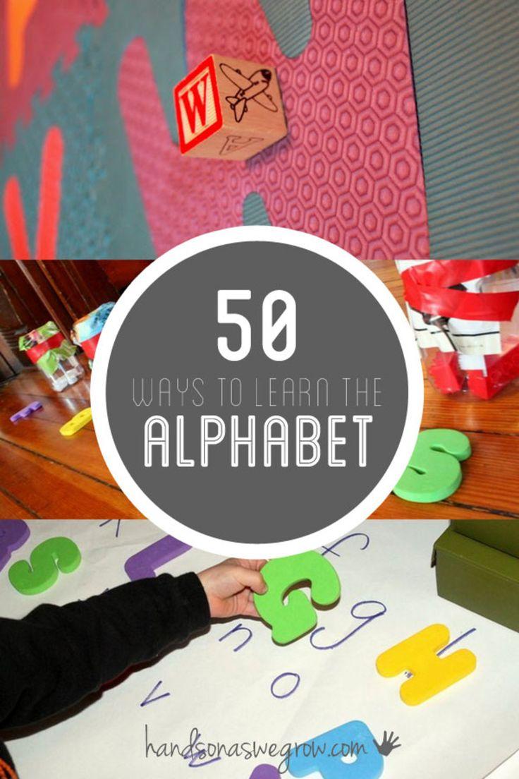 Activities to learn the ABCs! http://handsonaswegrow.com/50-alphabet-activities/
