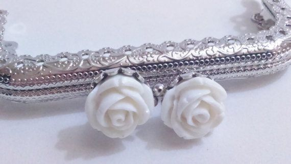 1x silver metal purse frame with sewing holes 8,5 cm, supplies, white flower decoration, coin purse frame