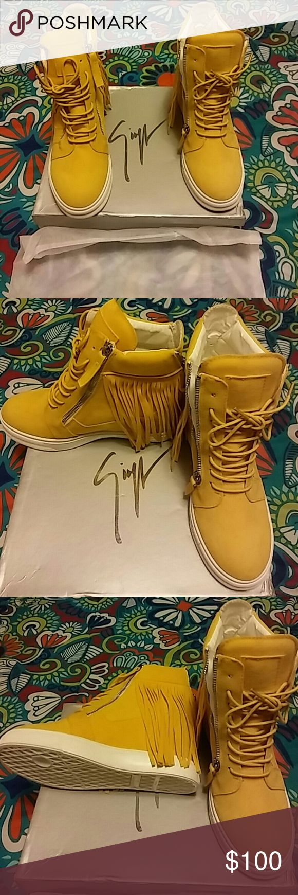 Yellow fringe sneakers Brand new yellow inspired Giuseppe sneakers beautiful and very comfortable. On the left foot the sneaker has a very faint blue stain from trying on with jeans but not noticeable at all. But i will adjust the price because of that very minor flaw. Im open to offers but plz dont low ball me, or i will not negotiate. Thanks for shopping with me happy poshing.???????????????????? Shoes Wedges
