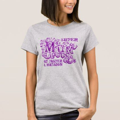 Super Mum decorative purple kids names top - personalize design idea new special custom diy or cyo
