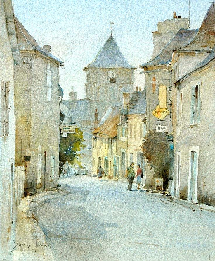 Lovely watercolour by David Howell Captures the feeling of strolling through a little French village.