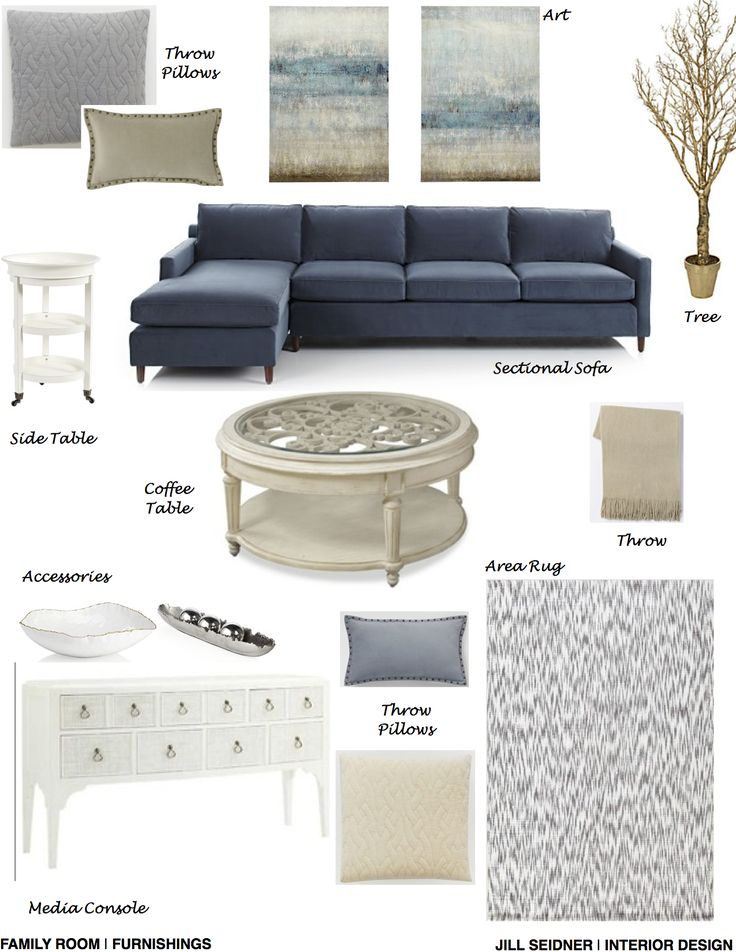 Brentwood CA Residence Great Room Furnishings Concept Board Updated Jill Seidner Interior Design Blue Living RoomsLiving