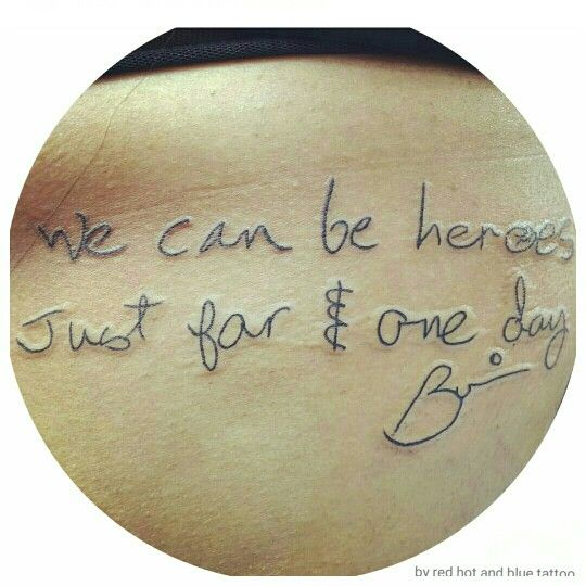 """""""We can be heroes Just for 