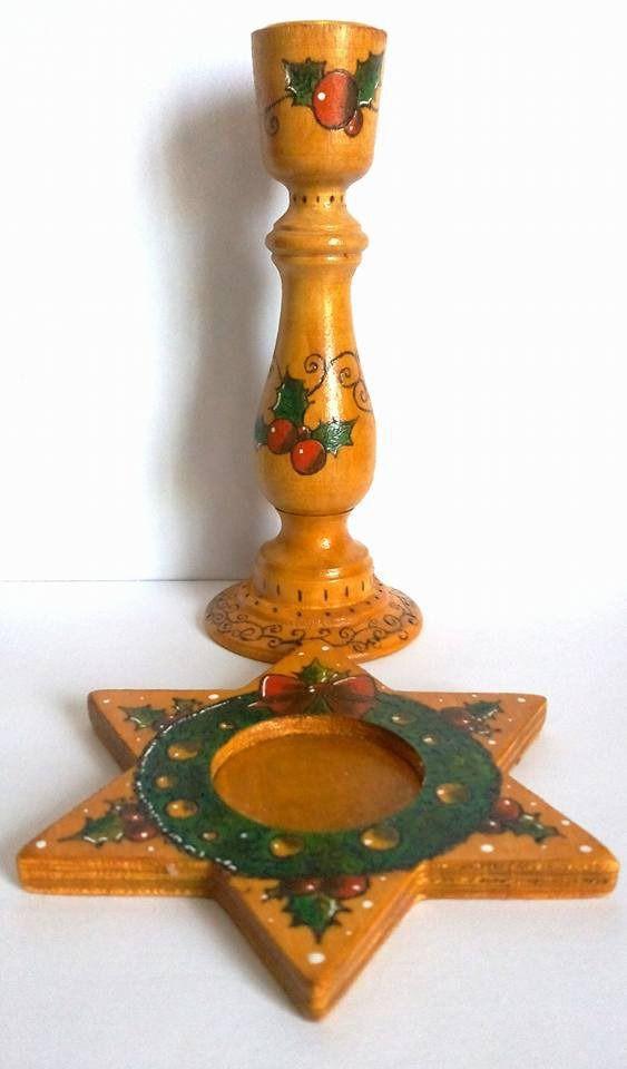 écorations noël pour table - lot de deux bougeoirs en bois peints et pyrogravés à la main - bougeoirs étoile et chandelier peints : Luminaires par sabrina-riggio