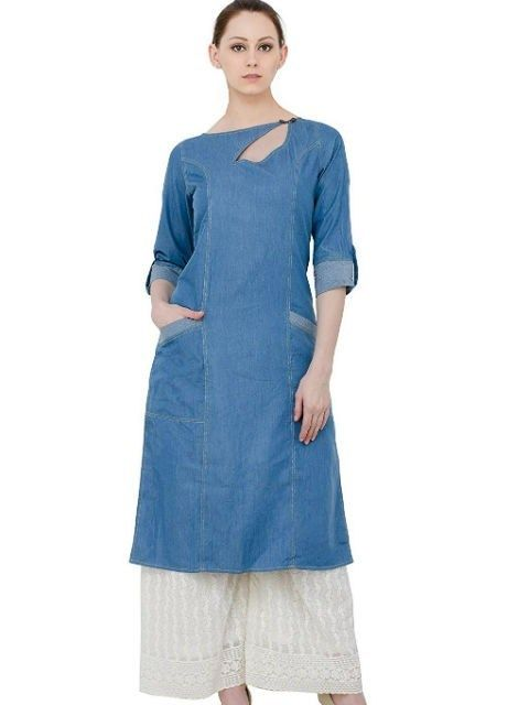 Blue Denim Straight Kurta Denim Kurti Designs In 2019 Denim