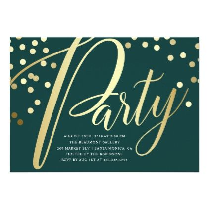 Gorgeous Glamorous Gold and Green Party Invitation - event gifts diy cyo events