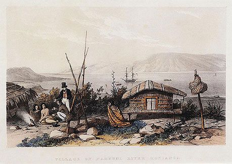 Village Of Parkuni, River Hokianga by AUGUSTUS EARLE