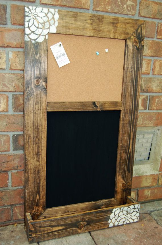 Custom message board with Chalkboard and Cork board with pocket for mail or papers on Etsy, $70.00
